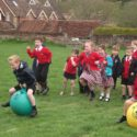 Pupils battle courageously in our St George's Day Space Hopper Race!